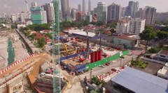 Kuala Lumpur view descending over construction site Stock Footage
