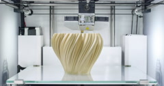 3D printer working, printing a fractal vase  - TL - CU Stock Footage