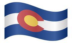 Flag of Colorado waving on white background Stock Illustration