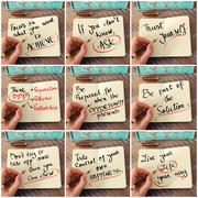 Photo collage of handwritten business motivational messages Stock Photos