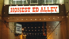 Honest Ed Alley sign. Honest Eds department store. Toronto, Canada. Stock Footage