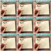 Photo collage of days 1st to 9th of month April handwritten on notebook Stock Photos