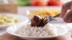 Soy sauce hard boiled egg stew on white rice Stock Footage