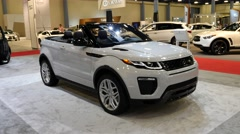 Range Rover Evoque HSE convertible at the Miami International Auto Show Stock Footage