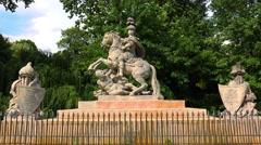 Monument to King Jan III Sobieski in Warsaw. Poland. 4K. Stock Footage