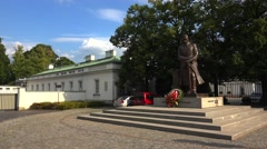 Monument to Marshal Jozef Pilsudski in Warsaw. Poland. 4K. Stock Footage