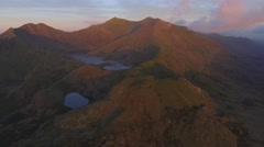 Aerial view of Mount Snowdon in soft morning light. Stock Footage