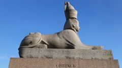 Egyptian ancient sphinx with face of pharaoh in St. Petersburg Stock Footage