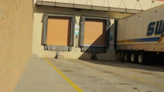 Loading docks at a store for semi trucks. Stock Footage