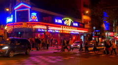 4K Urban Parisian Night Life, Paris Street at Night, Europe Travel, Neon Lights Stock Footage