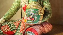 Tosakan (Ravana) , Thai classical mask dance of the Ramayana Epic Stock Footage