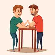 Arm Wrestling. Battle fighters. Cartoon vector illustration. Stock Illustration