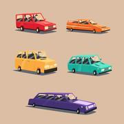 Set of vintage american automobile. Cartoon vector illustration. Car isolated. Stock Illustration