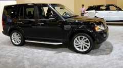 Land Rover Discovery  LR4 Silver Edition at the Miami International Auto Show Stock Footage
