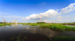 Petrochemical industrial with landscape background Stock Footage