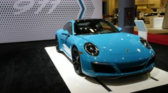 Porsche Carrera S on display during the Miami International Auto Show Stock Footage
