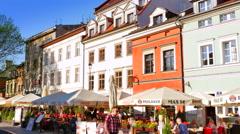 4K Kazimierz Buildings, Jewish Quarter, Old Town Krakow Patio Restaurants Stock Footage