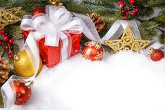 Christmas gift with decoration Stock Photos