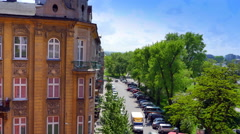 4K Aerial View of European Building, Park Cityscape and Street, Old Architecture Stock Footage