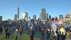 4k video of people watching the helicopter display at Brisbane Festival 2016 Stock Footage