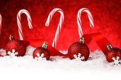 Christmas card with decorative baubles Stock Photos