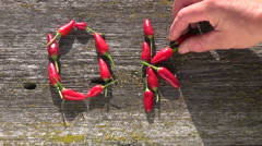 """Word """"OK"""" made of chili peppers Stock Footage"""