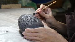 Artist making and painting thai style clay sculpture Stock Footage