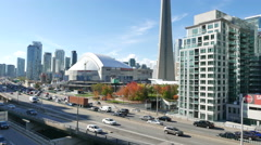 Downtown Toronto CN Tower and Rogers Centre Tilt Up Stock Footage