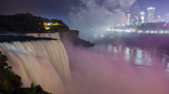 Niagara Falls at Night with City Lights Stock Footage