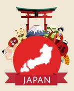 Japan travel concept with famous attractions. Stock Illustration