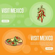 Visit Mexico Touristic Vector Web Banners Stock Illustration