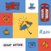Great Britain Squared Doodle Vector Concept Stock Illustration