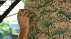 Artist making and painting thai style Stock Footage