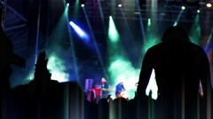4K Party People Silhouette, Festival Crowd Woman on Shoulders Live Entertainment Stock Footage