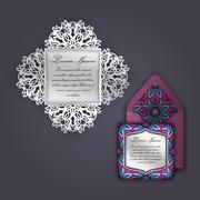 Wedding invitation or greeting card with vintage floral ornament. Paper lace  Stock Illustration
