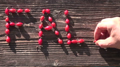 "Word ""fall"" made of rosehips on wooden background Stock Footage"