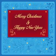 New Year and Christmas floral card Stock Illustration