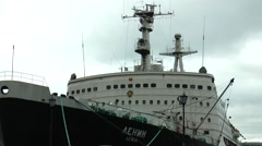 "The world's first nuclear-powered icebreaker ""Lenin"". Zoom out. Stock Footage"