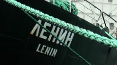 "Nuclear-powered icebreaker ""Lenin"". Title on board. Stock Footage"