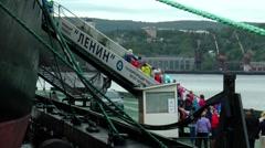 """Children's tour of the icebreaker """"Lenin"""". Stock Footage"""