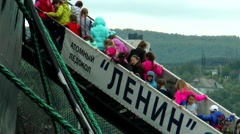 """Children's tour of the nuclear-powered icebreaker """"Lenin"""". Stock Footage"""