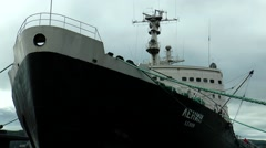 """Nuclear-powered icebreaker """"Lenin"""". Front view. Stock Footage"""