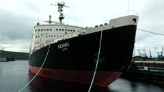 "The world's first nuclear-powered icebreaker ""Lenin"" is anchored. Stock Footage"