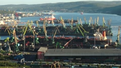 Ships and cranes in the Murmansk seaport. Stock Footage