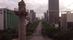 Rising reveal of Angel of Independence Mexico City Stock Footage