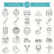 25 Camping Line Icons Stock Illustration