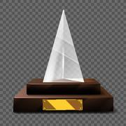 Empty realistic glass trophy awards vector statue Stock Illustration