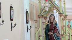 The statue of the Madonna inside the church Stock Footage