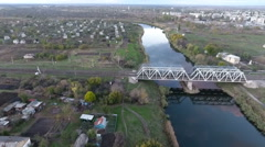 The view from the height on the railroad bridge and the river Stock Footage