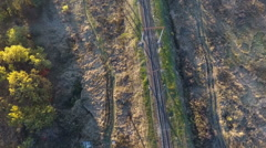 Flying over the railway, drone flies over the railways tracks Stock Footage